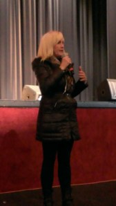 Erin Brockovich speaking at the town hall